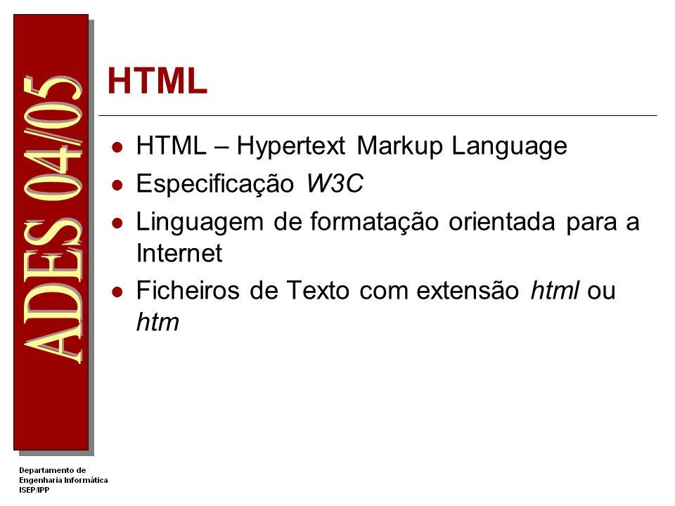 HTML HTML – Hypertext Markup Language Especificação W3C Linguagem de formatação orientada para a Internet Ficheiros de Texto com extensão html ou htm