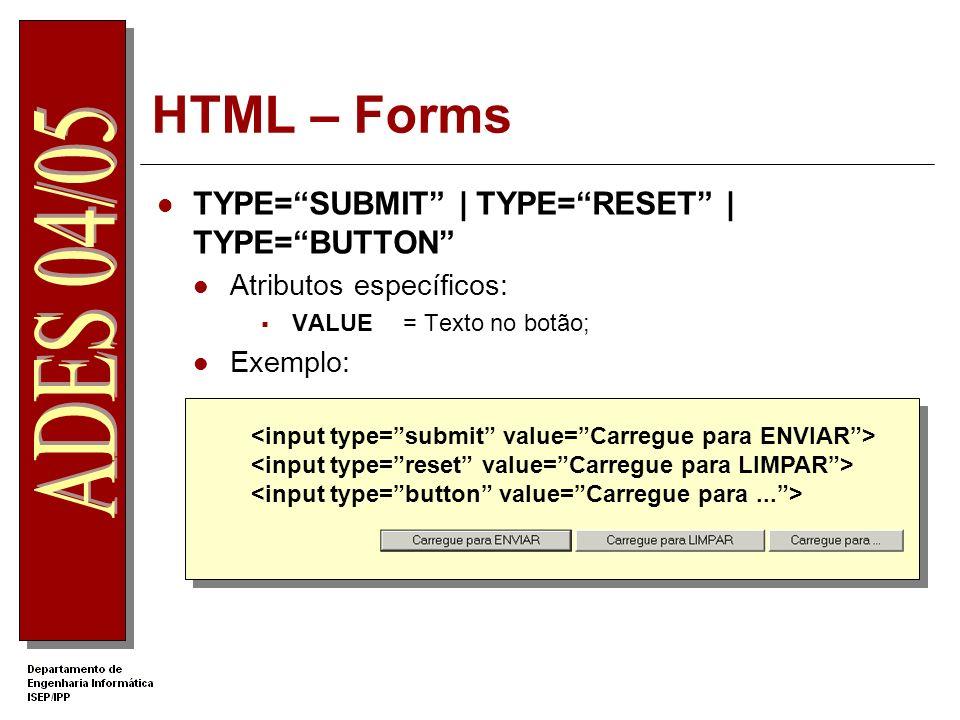HTML – Forms TYPE=SUBMIT   TYPE=RESET   TYPE=BUTTON Atributos específicos: VALUE= Texto no botão; Exemplo: