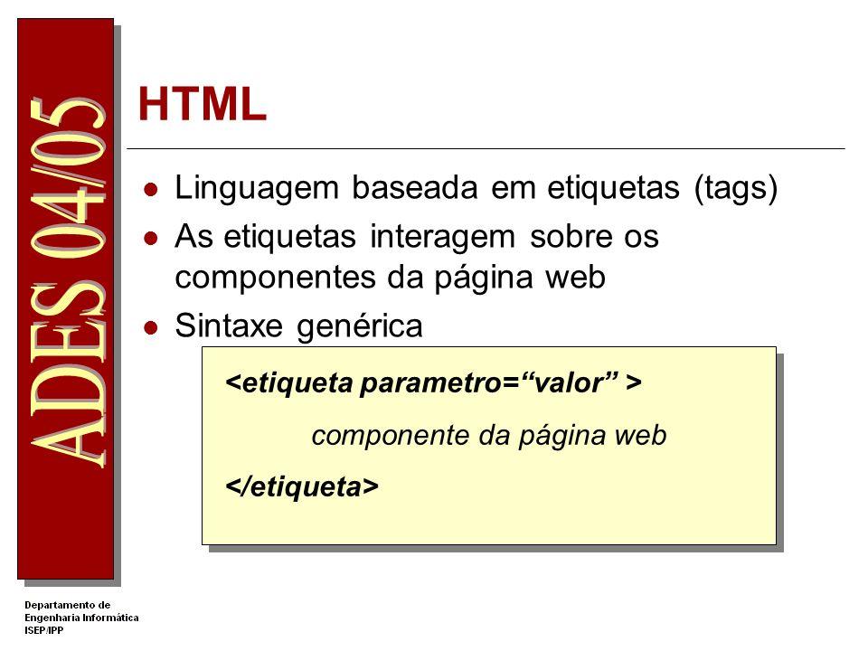 DHTML DHTML – Dynamic HTML Não é uma norma do W3C Utilização conjunta de tecnologias para a criação de sites dinâmicos HTML 4.0 Cascading Style Sheets (CSS) Document Object Model (DOM) Scripting (Javascript, VBScript,...)