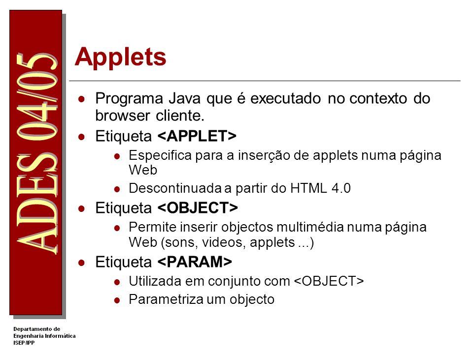 Applets Programa Java que é executado no contexto do browser cliente. Etiqueta Especifica para a inserção de applets numa página Web Descontinuada a p