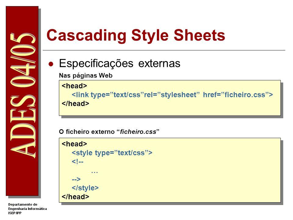 Cascading Style Sheets Especificações externas Nas páginas Web O ficheiro externo ficheiro.css <!-- … -->