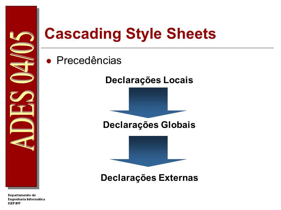 Cascading Style Sheets Precedências Declarações Locais Declarações Globais Declarações Externas