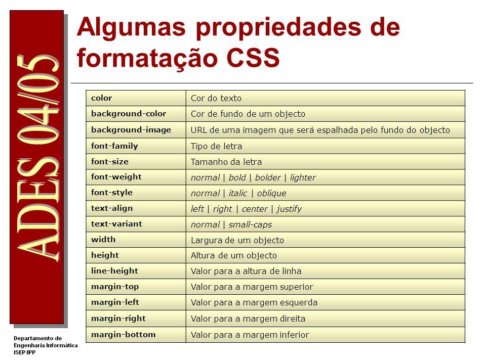 Algumas propriedades de formatação CSS color Cor do texto background-color Cor de fundo de um objecto background-image URL de uma imagem que será espa