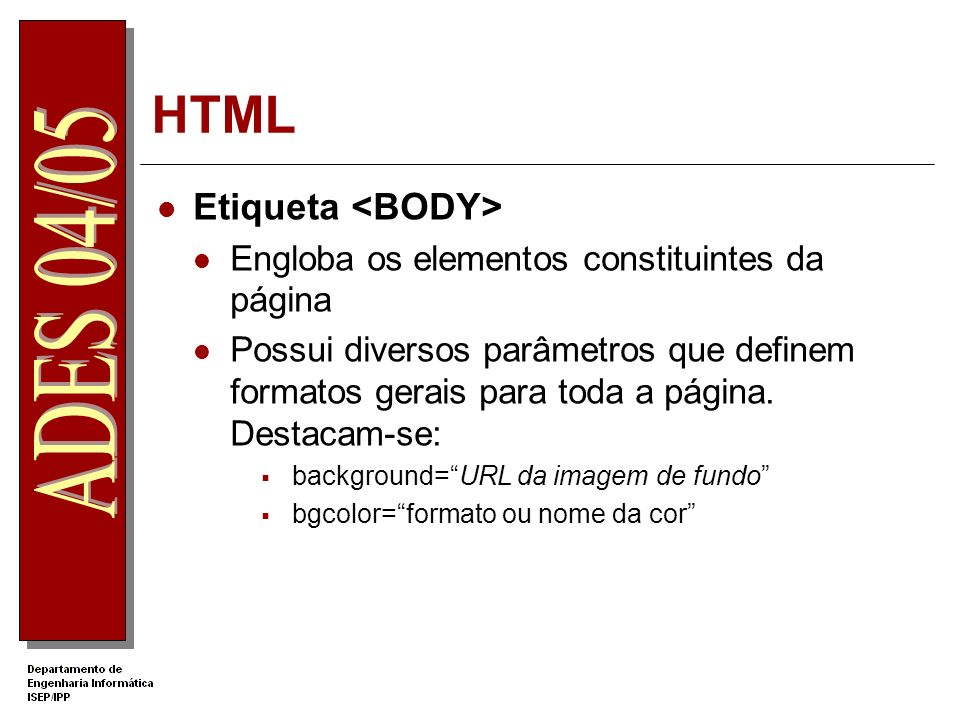 Exemplo Um exemplo HTML body{background-color:navy;font-size:14pt;font-family:arial;color:lightBlue} h1{color:white;font 18pt verdana bold;text-align:center}.botao{width:140px;height:50px;font-family:comic sans MS;} function abrir() { x=window.open( http://www.ipp.pt , PagIPP , width=99,height=80 ); } Página de Exemplo Esta é um exemplo de uma página em HTML, onde na zona do comando <HEAD> estão comandos auxiliares para a construção da página e na zona do comando <BODY> estão os objecto que compoêm a página.