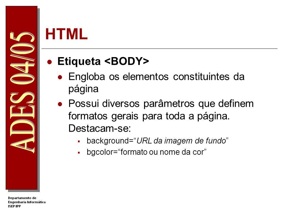 HTML – Exemplo Forms Nome: Sexo: Feminino Masculino Ano de Nascimento: 1984 1985 1986 Cadeiras feitas: Algoritmia Inglês Tecnico Algebra Amb.
