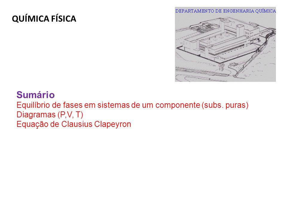 QUÍMICA FÍSICA Sumário Equilíbrio de fases em sistemas de um componente (subs. puras) Diagramas (P,V, T) Equação de Clausius Clapeyron