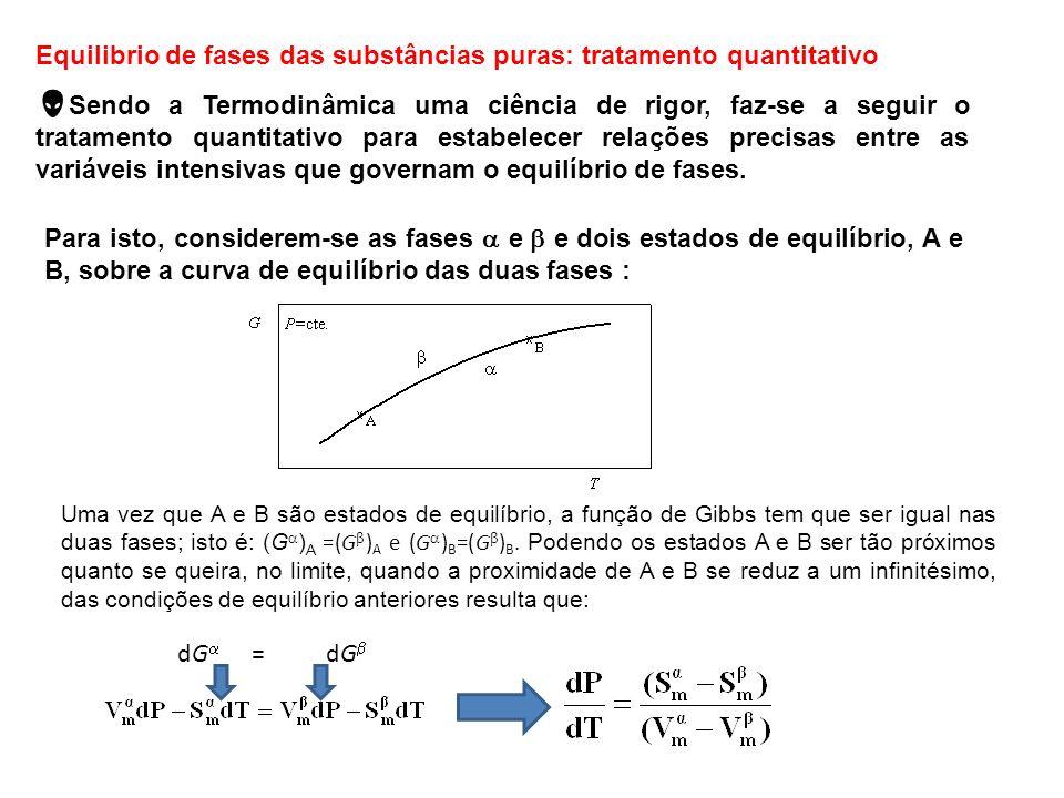 Equilibrio de fases das substâncias puras: tratamento quantitativo Sendo a Termodinâmica uma ciência de rigor, faz-se a seguir o tratamento quantitati
