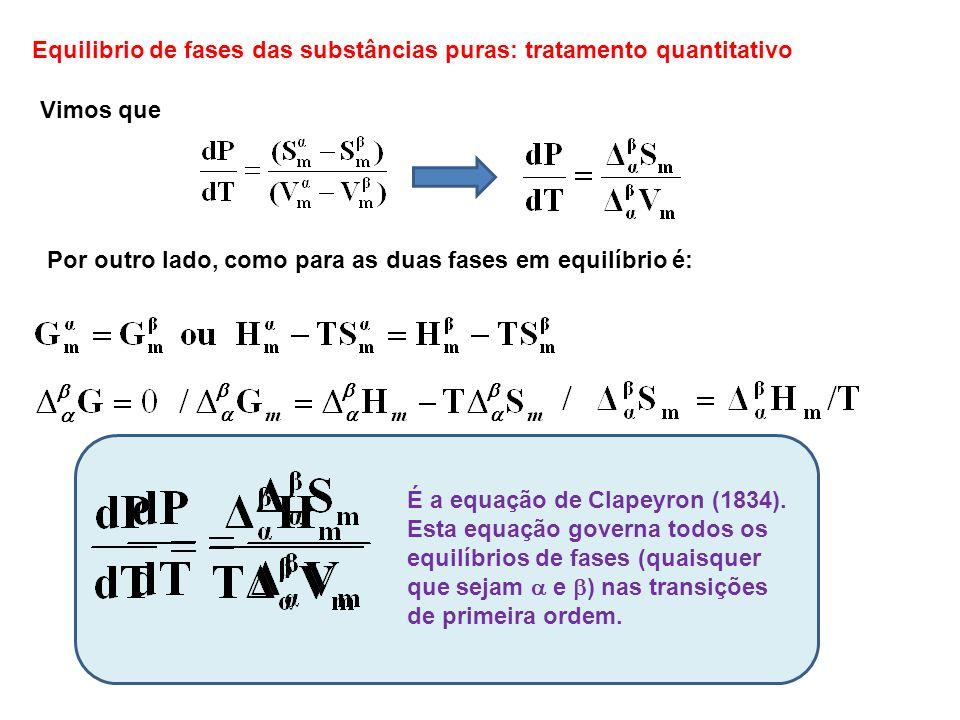 Equilibrio de fases das substâncias puras: tratamento quantitativo Vimos que Por outro lado, como para as duas fases em equilíbrio é: É a equação de C