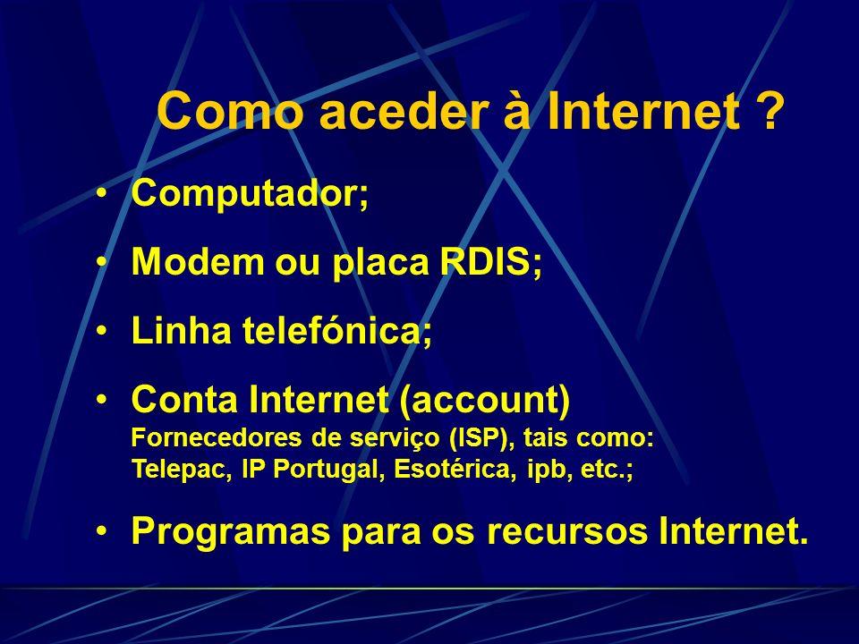 Outros recursos Conferência (NetMeeting); FAQ (Frequently Asked Questions); Comércio Electrónico; www.ruralnet.pt www.amazon.com
