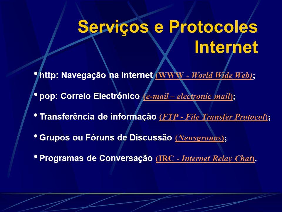 Serviços e Protocoles Internet http: Navegação na Internet (WWW - World Wide Web); (WWW - World Wide Web) pop: Correio Electrónico (e-mail – electroni