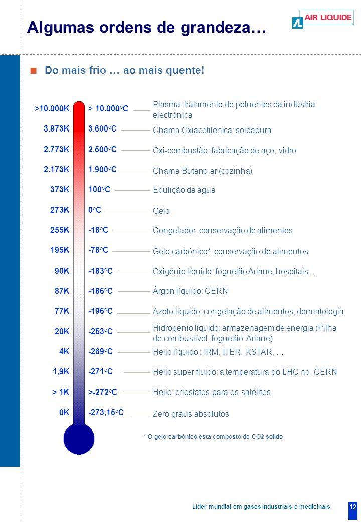 Líder mundial em gases industriais e medicinais 12 Do mais frio … ao mais quente.