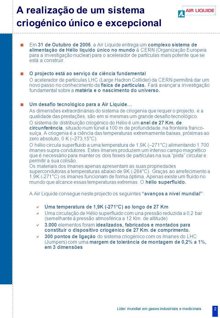 Líder mundial em gases industriais e medicinais 2 A realização de um sistema criogénico único e excepcional Em 31 de Outubro de 2006, a Air Liquide entrega um complexo sistema de alimentação de Hélio líquido único no mundo à CERN (Organização Europeia para a investigação nuclear) para o acelerador de partículas mais potente que se está a construir.