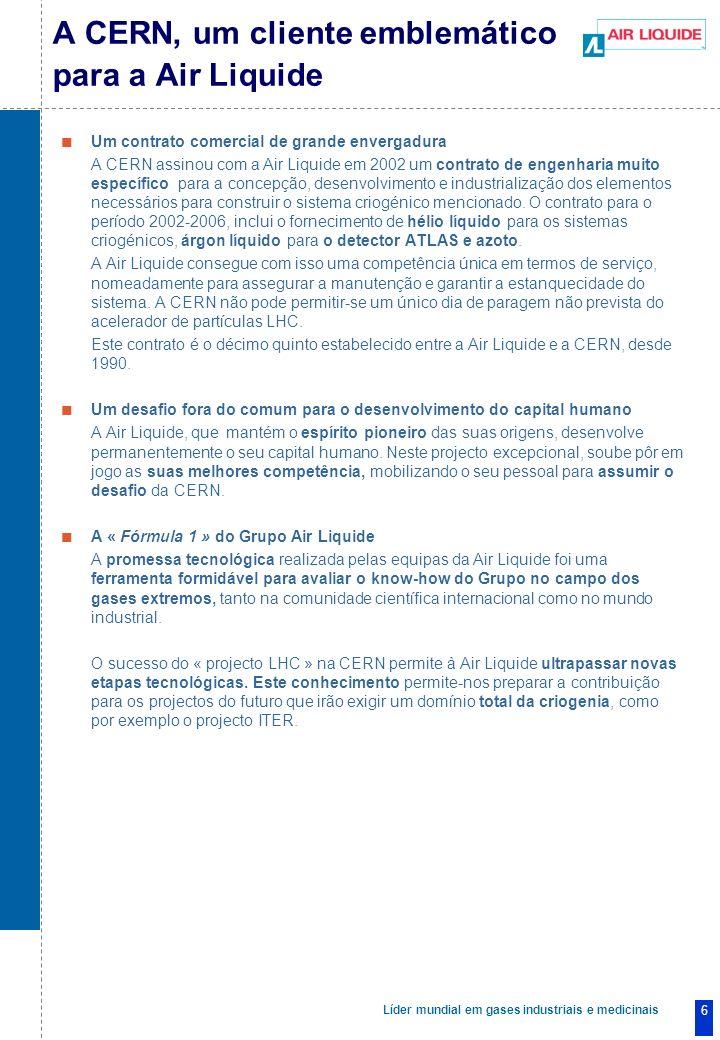 Líder mundial em gases industriais e medicinais 6 Um contrato comercial de grande envergadura A CERN assinou com a Air Liquide em 2002 um contrato de engenharia muito específico para a concepção, desenvolvimento e industrialização dos elementos necessários para construir o sistema criogénico mencionado.
