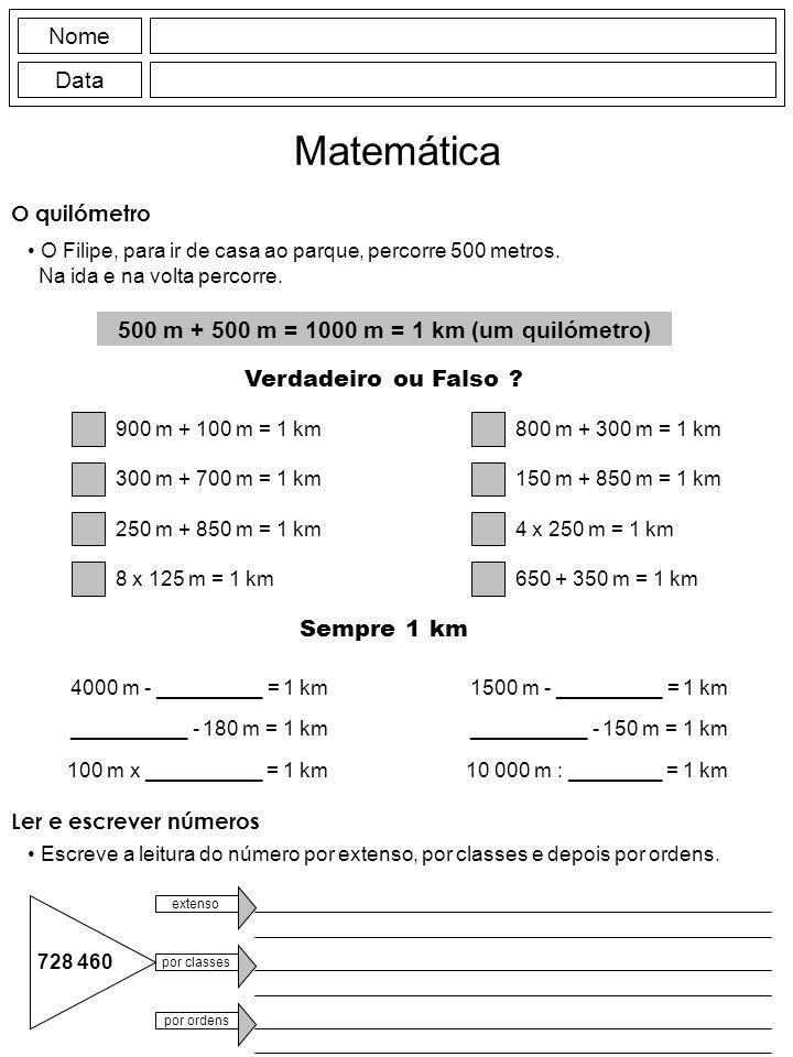 Nome Data Matemática O quilómetro O Filipe, para ir de casa ao parque, percorre 500 metros. Na ida e na volta percorre. 500 m + 500 m = 1000 m = 1 km