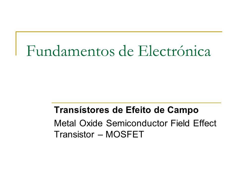 Fundamentos de Electrónica Transístores de Efeito de Campo Metal Oxide Semiconductor Field Effect Transistor – MOSFET