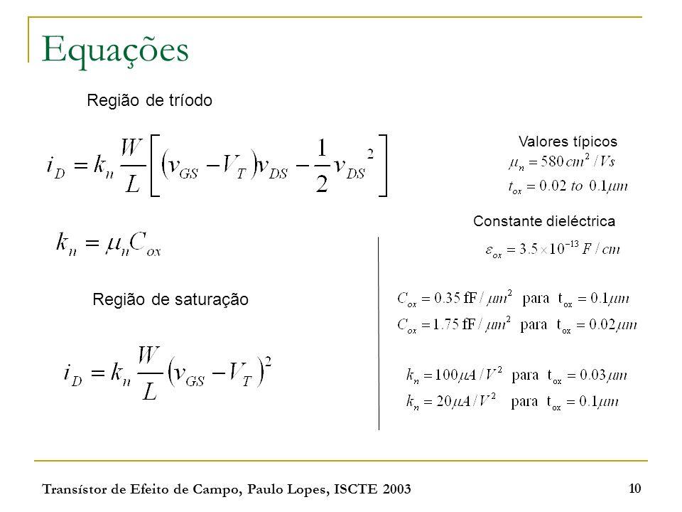 Transístor de Efeito de Campo, Paulo Lopes, ISCTE 2003 10 Equações Região de tríodo Região de saturação Valores típicos Constante dieléctrica