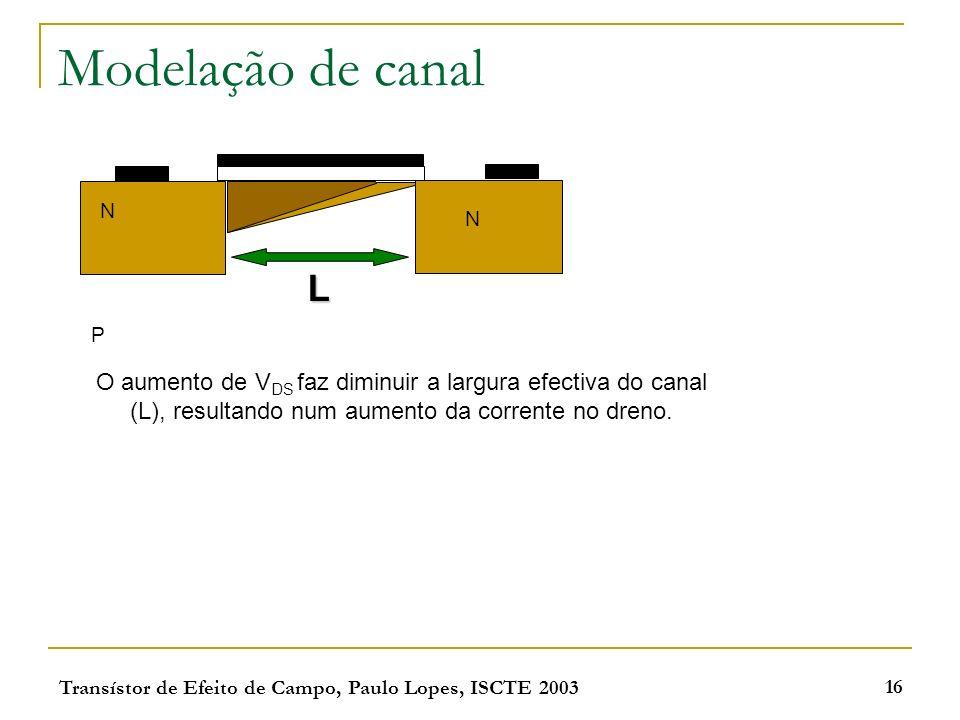 Transístor de Efeito de Campo, Paulo Lopes, ISCTE 2003 16 Modelação de canal N N P L O aumento de V DS faz diminuir a largura efectiva do canal (L), r