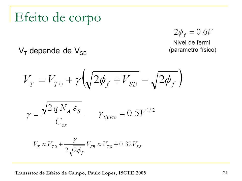 Transístor de Efeito de Campo, Paulo Lopes, ISCTE 2003 21 Efeito de corpo V T depende de V SB Nivel de fermi (parametro físico)
