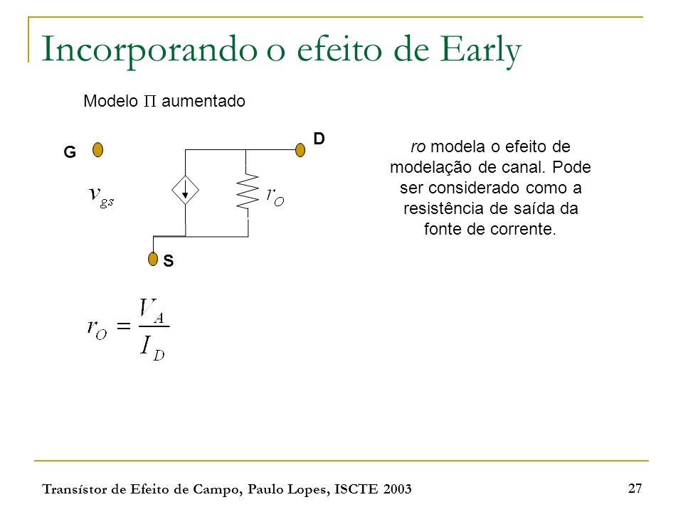 Transístor de Efeito de Campo, Paulo Lopes, ISCTE 2003 27 Incorporando o efeito de Early Modelo aumentado G D S ro modela o efeito de modelação de can