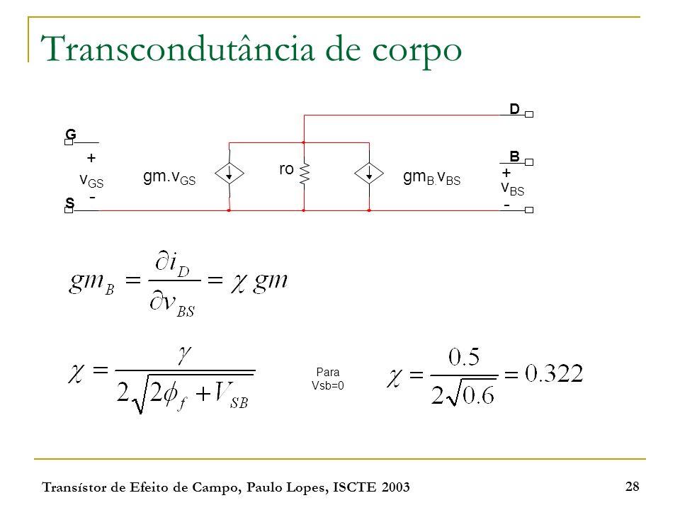 Transístor de Efeito de Campo, Paulo Lopes, ISCTE 2003 28 Transcondutância de corpo G S D B v BS + - gm.v GS ro gm B. v BS v GS + - Para Vsb=0