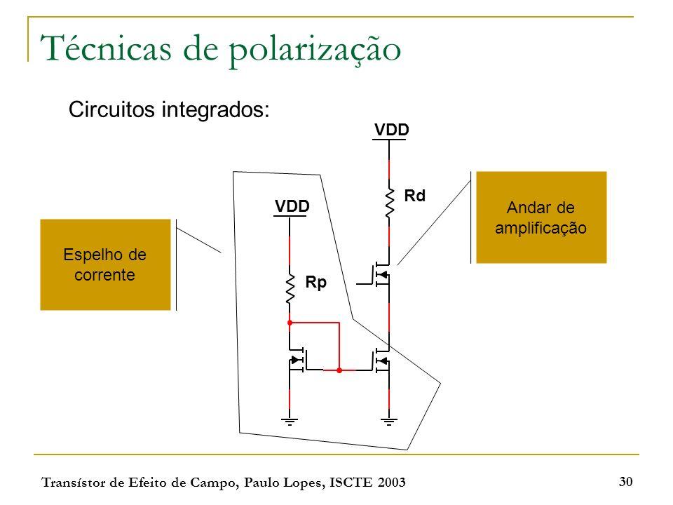 Transístor de Efeito de Campo, Paulo Lopes, ISCTE 2003 30 Técnicas de polarização Circuitos integrados: VDD Rd Rp VDD Espelho de corrente Andar de amp