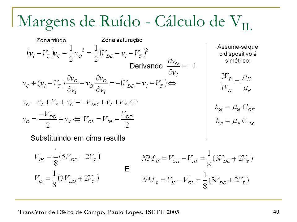 Transístor de Efeito de Campo, Paulo Lopes, ISCTE 2003 40 Margens de Ruído - Cálculo de V IL Zona saturação Zona triúdo Derivando Substituindo em cima