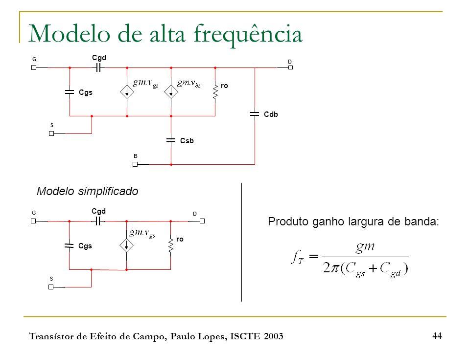 Transístor de Efeito de Campo, Paulo Lopes, ISCTE 2003 44 Modelo de alta frequência Cgd Cgs G ro S B Csb Cdb D Modelo simplificado Cgd Cgs G ro S D Pr
