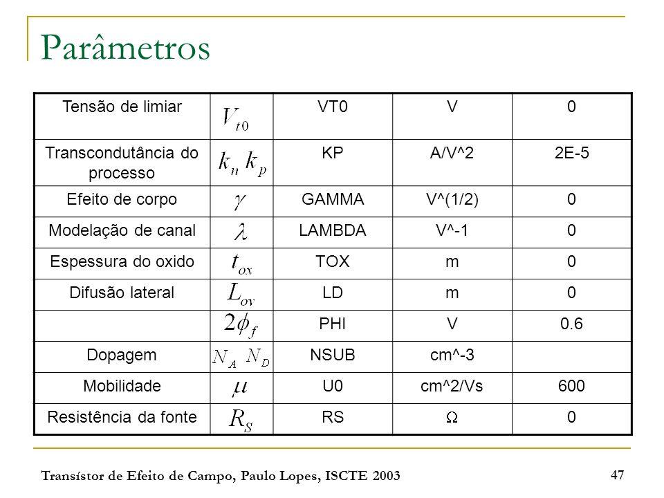 Transístor de Efeito de Campo, Paulo Lopes, ISCTE 2003 47 Parâmetros Tensão de limiarVT0V0 Transcondutância do processo KPA/V^22E-5 Efeito de corpoGAM
