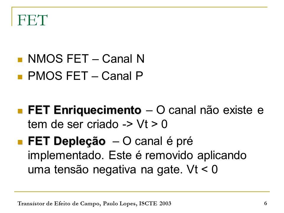 Transístor de Efeito de Campo, Paulo Lopes, ISCTE 2003 6 FET NMOS FET – Canal N PMOS FET – Canal P FET Enriquecimento FET Enriquecimento – O canal não