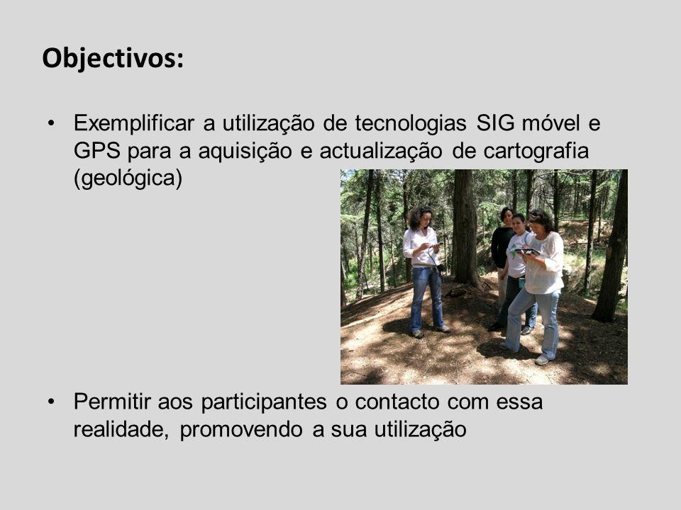 Objectivos: Exemplificar a utilização de tecnologias SIG móvel e GPS para a aquisição e actualização de cartografia (geológica) Permitir aos participa