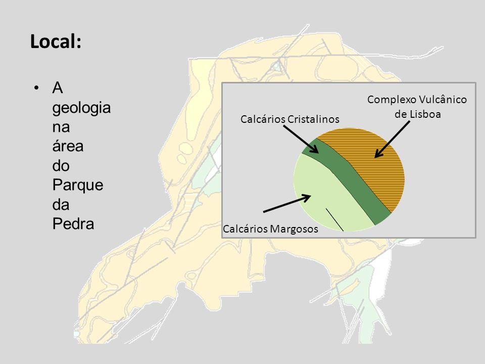 Local: A geologia na área do Parque da Pedra Calcários Cristalinos Complexo Vulcânico de Lisboa Calcários Margosos
