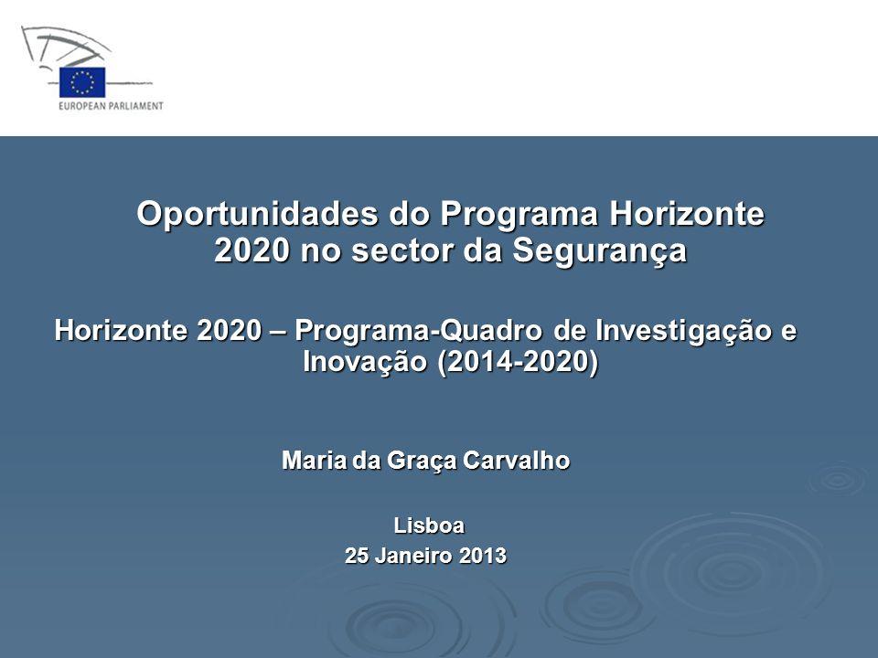 Horizonte 2020 Liderança Industrial Horizonte 2020 Liderança Industrial Espaço – uma das Tecnologias Facilitadoras Essenciais Assegurar a competitividade, a autonomia e a inovação europeias do sector espacial europeu; Assegurar a competitividade, a autonomia e a inovação europeias do sector espacial europeu; Permitir avanços em tecnologias espaciais; Permitir avanços em tecnologias espaciais; Permitir a exploração dos dados espaciais; Permitir a exploração dos dados espaciais; Promover a investigação europeia para apoio a parcerias internacionais no domínio do espaço; Promover a investigação europeia para apoio a parcerias internacionais no domínio do espaço; Desenvolver aplicações GNSS para potenciar a utilização do sistema de navegação por satélite da União Europeia.