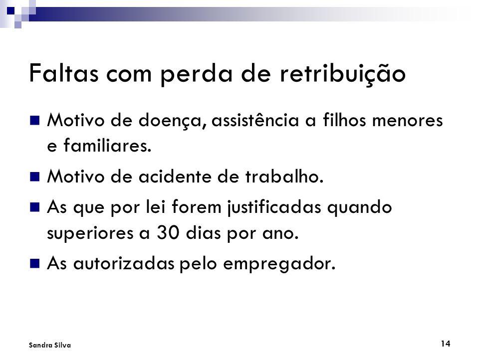 14 Sandra Silva Faltas com perda de retribuição Motivo de doença, assistência a filhos menores e familiares. Motivo de acidente de trabalho. As que po