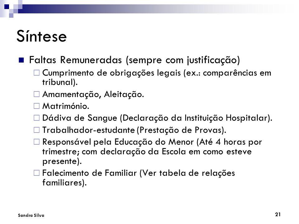 21 Sandra Silva Síntese Faltas Remuneradas (sempre com justificação) Cumprimento de obrigações legais (ex.: comparências em tribunal). Amamentação, Al