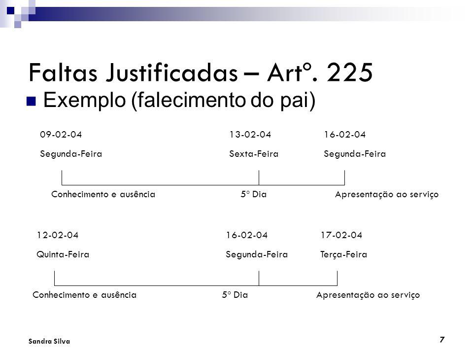 7 Sandra Silva Faltas Justificadas – Artº. 225 Exemplo (falecimento do pai) 09-02-0413-02-0416-02-04 Segunda-FeiraSexta-FeiraSegunda-Feira Conheciment