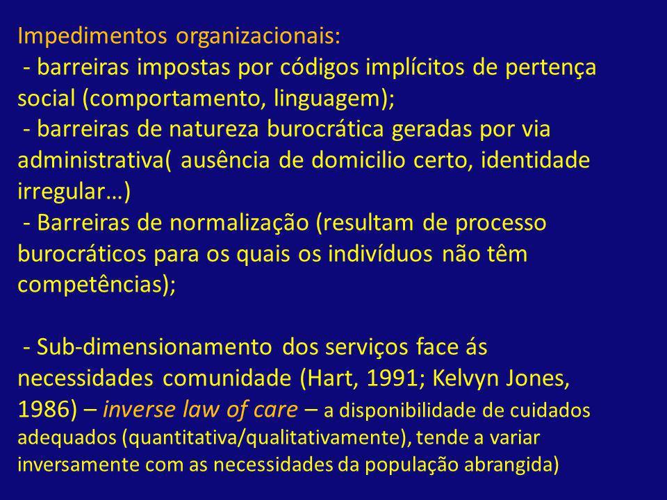 Impedimentos organizacionais: - barreiras impostas por códigos implícitos de pertença social (comportamento, linguagem); - barreiras de natureza buroc
