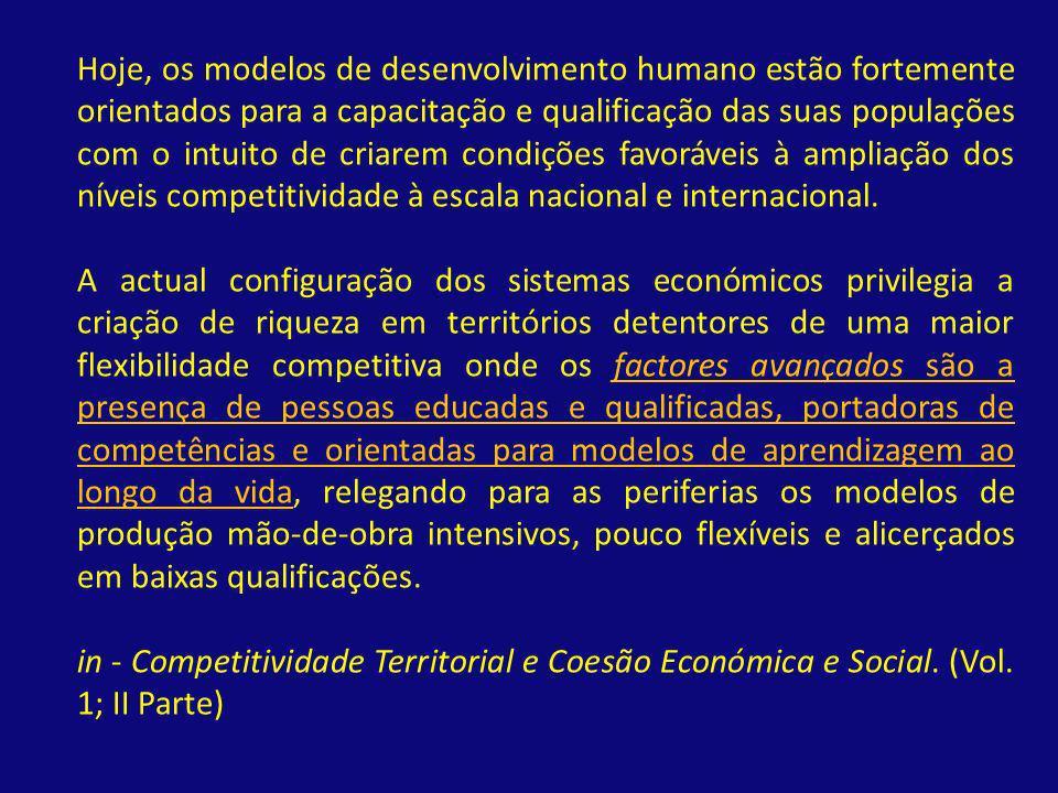 Hoje, os modelos de desenvolvimento humano estão fortemente orientados para a capacitação e qualificação das suas populações com o intuito de criarem