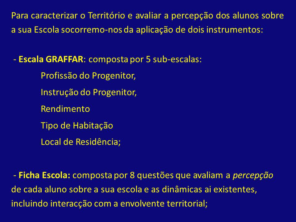 Para caracterizar o Território e avaliar a percepção dos alunos sobre a sua Escola socorremo-nos da aplicação de dois instrumentos: - Escala GRAFFAR: