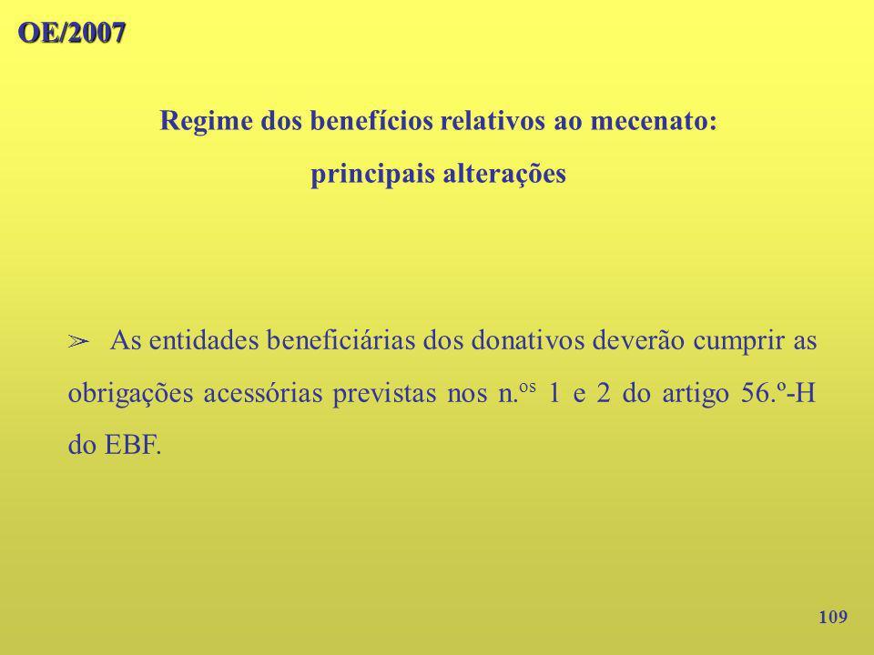 109 OE/2007 Regime dos benefícios relativos ao mecenato: principais alterações As entidades beneficiárias dos donativos deverão cumprir as obrigações