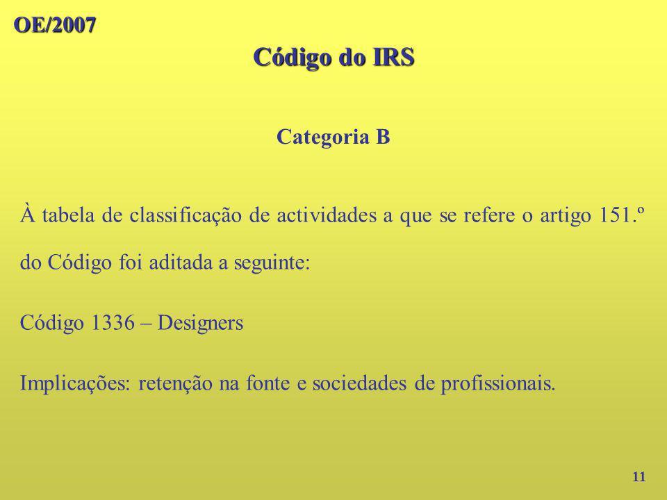 OE/2007 Código do IRS Categoria B 11 À tabela de classificação de actividades a que se refere o artigo 151.º do Código foi aditada a seguinte: Código