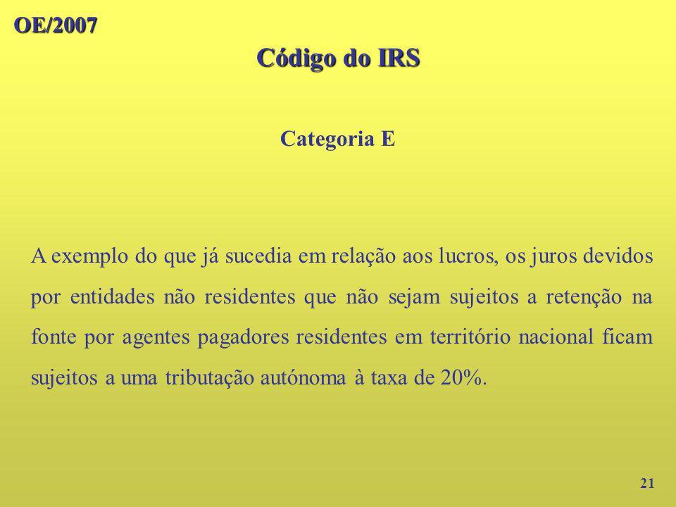 OE/2007 Código do IRS Categoria E 21 A exemplo do que já sucedia em relação aos lucros, os juros devidos por entidades não residentes que não sejam su