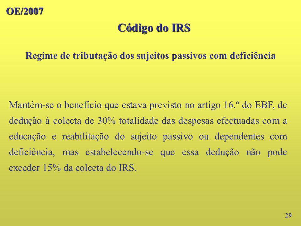 OE/2007 29 Mantém-se o benefício que estava previsto no artigo 16.º do EBF, de dedução à colecta de 30% totalidade das despesas efectuadas com a educa