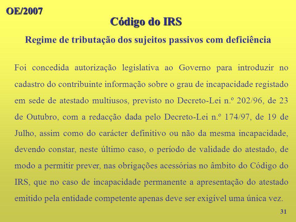OE/2007 31 Foi concedida autorização legislativa ao Governo para introduzir no cadastro do contribuinte informação sobre o grau de incapacidade regist