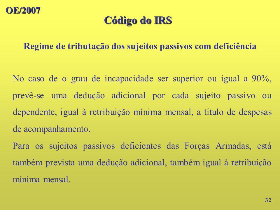 OE/2007 32 No caso de o grau de incapacidade ser superior ou igual a 90%, prevê-se uma dedução adicional por cada sujeito passivo ou dependente, igual