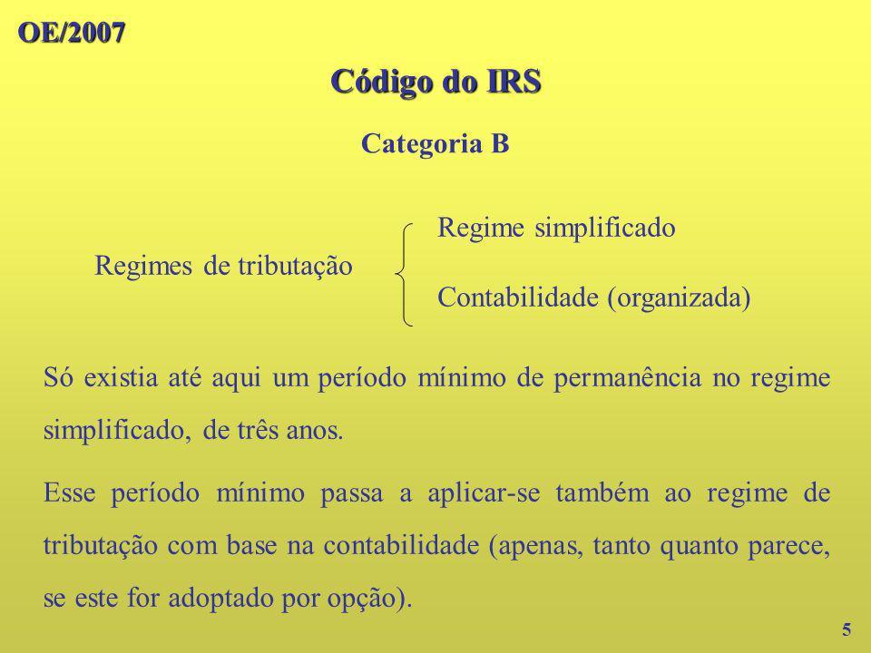 OE/2007 Código do IRS Categoria B 6 Com o OE/2006, deixou de haver na prática qualquer período mínimo de permanência no regime simplificado, pois o rendimento tributável mínimo passou a estar indexado ao valor da retribuição mínima mensal.