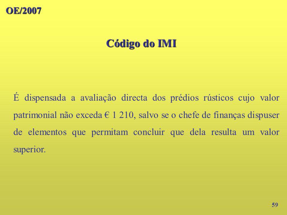 OE/2007 Código do IMI 59 É dispensada a avaliação directa dos prédios rústicos cujo valor patrimonial não exceda 1 210, salvo se o chefe de finanças d