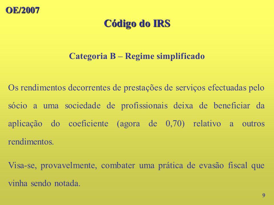 OE/2007 Código do IRS Categoria B – Regime simplificado 10 Exemplo: Sociedade de profissionais com proveitos de 100 000 e custos de 40 000.