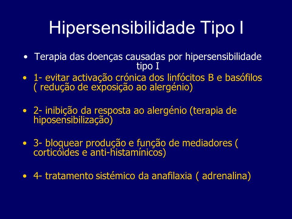 Hipersensibilidade Tipo I Terapia das doenças causadas por hipersensibilidade tipo I 1- evitar activação crónica dos linfócitos B e basófilos ( reduçã
