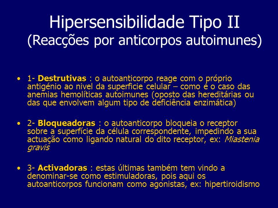 Hipersensibilidade Tipo II (Reacções por anticorpos autoimunes) Destrutivas1- Destrutivas : o autoanticorpo reage com o próprio antigénio ao nivel da