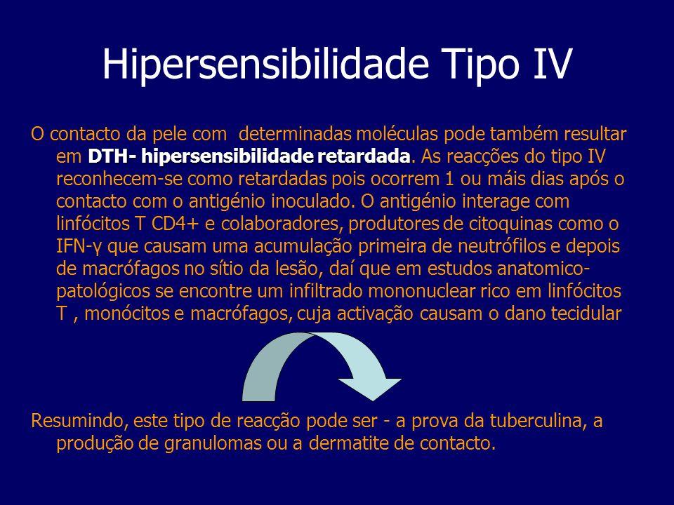 Hipersensibilidade Tipo IV DTH- hipersensibilidade retardada O contacto da pele com determinadas moléculas pode também resultar em DTH- hipersensibili